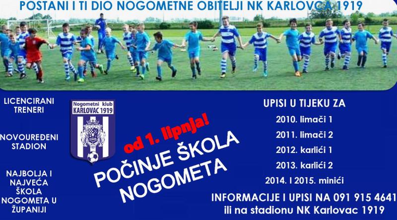 """Škola nogometa """"NK Karlovac 1919"""" od 1. lipnja ponovno počinje s radom"""