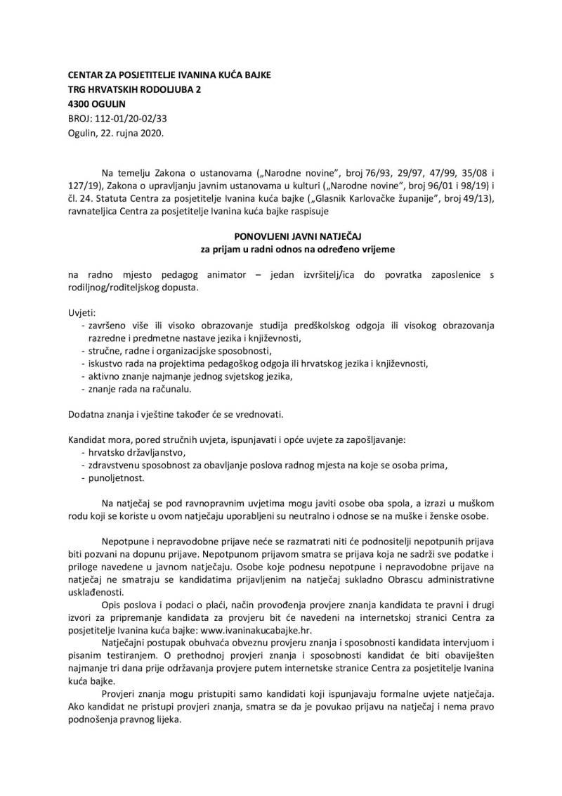 IKB - ponovljeni javni natječaj za prijam u radni odnos na određeno vrijeme (pedagog animator)-page-001