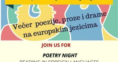 """Sutra će se održati 7. """"Večer poezije, proze i drame na europskim jezicima"""", ali online"""