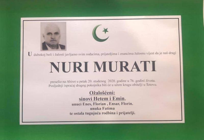 osmrtnica Nuri Murati i